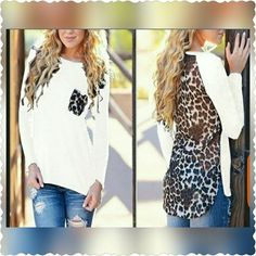 Chic Leopard Print Top Brand new white leopard print top. Sz says 5xl but fits more like an XL. Super cute and chic!!! Tops Blouses