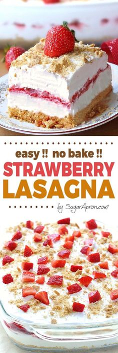 No Bake Strawberry Cheesecake Lasagna -a dessert lasagna with graham cracker crust, cream cheese filling, strawberries and cream topping, will make all Your Strawberries and Cream dreams come true. desserts No Bake Strawberry Cheesecake Lasagna 13 Desserts, Delicious Desserts, Yummy Food, Cheesecake Desserts, Baking Desserts, Strawberry Cheesecake Bars, Pumpkin Cheesecake, Strawberry Cream Cheese Dessert, Summer Cheesecake