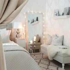 bedroom is picture perfect 💗😍 Glam Bedroom, Home Bedroom, Bedroom Decor, Bedrooms, Diva Bedroom, My New Room, My Room, Dream Rooms, House Rooms