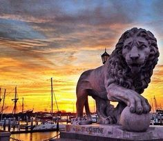 Bridge of Lions and marina in downtown St. Augustine.