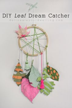 Simple DIY Leaf Dream Catcher!  Collect leaves and add your favorite colors.  Delineate Your Dwelling for Land of Nod