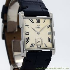 1946 Vintage Omega Ref. Stainless Steel Square-shaped Watch 1946 Vintage Omega Ref. Stainless Steel Square-shaped Watch 1946 Vintage Omega Ref. Vintage Watches For Men, Vintage Rolex, Luxury Watches For Men, Vintage Omega, Stylish Watches, Cool Watches, Lux Watches, Pocket Watches, Art Deco Watch