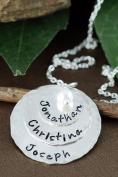 Beautiful hand-stamped family necklace is the perfect Christmas, Mother's Day or birthday gift for Mom, Grandma or your wife.  Add up to 6 names on the delicate charms...an optional pearl or birthstone adds just the right amount of sparkle!  #mothersnecklace (sponsored)