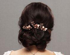 Wedding bridal  hair pin  hair piece rhinestone pearl crystal gold rose gold silver hair comb wedding hair style fascinator headpiece