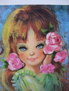 Vintage Greeting Card Beauty Big eyed little girl