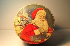 SANTA TIN antique Huntley and Palmers Biscut Tin with Santa Father Christmas and a sack full of toys antique vintage much loved