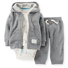 Carter's Boys 3 Piece Short Sleeve Dog Print Bodysuit, Grey Terry Zip Up Hoodie and Terry Sweatpants Playwear Set