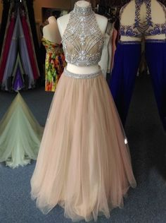 Buy Two-piece Prom Dress - High Neck Tulle Beading Prom Dresses under US$ 168.99 only in SimpleDress.