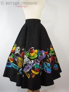 1940s Fashion, Vintage Fashion, Vintage Style, Mexican Skirts, Mexican Fashion, Full Circle Skirts, Vintage Skirt, Ready To Wear, High Waisted Skirt
