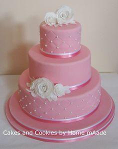 Bruidstaart roze met wit