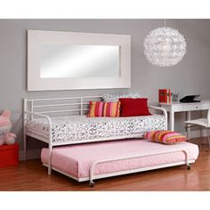 Metal Daybed with Trundle, White could be mykahs next bed. Would be great for sleep overs