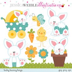 Baby Bunny Boys Cute Digital Clipart por JWIllustrations en Etsy