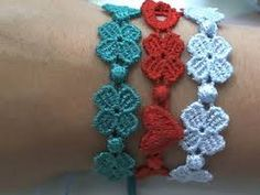 New Ideas Crochet Flowers Bracelet Ganchillo Bracelet Crochet, Crochet Cord, Crochet Stitches, Crochet Earrings, Flower Bracelet, Beaded Necklace, Crochet Crafts, Crochet Doilies, Crochet Lace