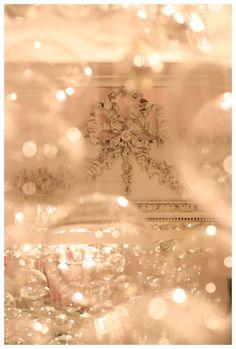 Bubble chandelier & antique French mirror at Faire Frou Frou