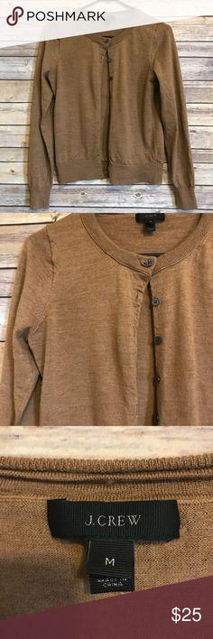 "J.Crew 100% merino wool cardigan Beautiful and soft cardigan by J.Crew. 100% Merino wool. Color is acorn brown. Measures 16""across/ 21.25 length. J. Crew Sweaters Cardigans"