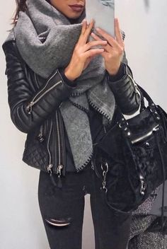 fall outfit ideas / gray scarf + black leather