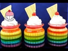 Make Rainbow Jell-O Jars - How to Make easy Rainbow Jelly Jars - Learn how to make these using our FREE online video tutorials. Visit YouTube channel MyCupcakeAddiction for these and lots more cupcake and cakepop decorating tutorials!