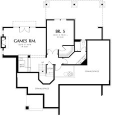 Craftsman Style House Plan - 5 Beds 4.5 Baths 3926 Sq/Ft Plan #48-563 Floor Plan - Lower Floor Plan - Houseplans.com