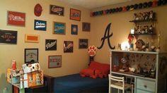 Framed t-shirts, baseball, boys bedroom, braves, decor, diy