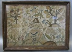 Antique Circa 1670 Charles II Silk Stumpwork Embroidered Panel Picture | eBay