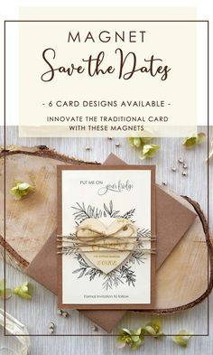 Why not innovate the traditional card with the Custom Save the Date Magnets.Remembering the date of your special day on the fridge of your guests will be original and pleasant. Rustic Wedding Stationery, Laser Cut Wedding Invitations, Printable Wedding Invitations, Invitation Cards, Invites, Laser Cut Save The Dates, Unique Save The Dates, Rustic Wedding Save The Dates, Destination Wedding Inspiration