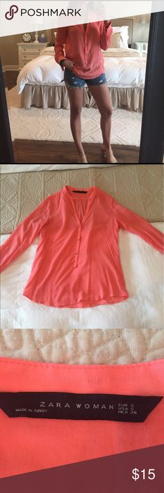Pink Zara shirt Pink blouse by Zara. Long sleeved but thin and cool. Only worn once! Zara Tops Blouses