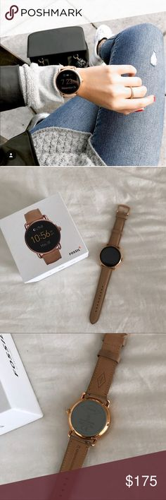 Fossil Q Wander Smartwatch Gold Fossil Q smartwatch with tan strap. Worn only once or twice and in excellent condition. No scratches on the face and comes with original box and magnetic charger. Fossil Accessories Watches