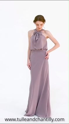 mauve long halter chiffon bridesmaid dress with bow TBQP456 #wedding #weddinginspiration #bridesmaids #bridesmaiddress #bridalparty #maidofhonor #weddingideas #weddingcolors #tulleandchantilly