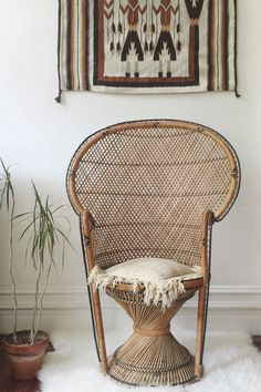 Vintage Peacock Chair / Wicker Rattan Throne