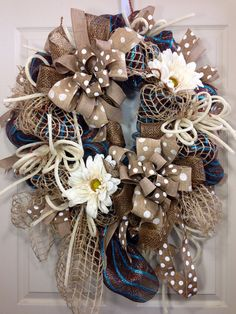 Spring / Summer Mesh Wreath by WilliamsFloral on Etsy, $115.00