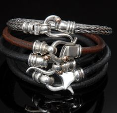 man fashion Brown Leather Bracelet, 9k  Gold Closure For Men and Women Black and Brown. $360.00, via Etsy.