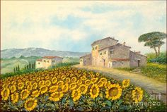 Facing Suflowers Painting by Luciano Torsi