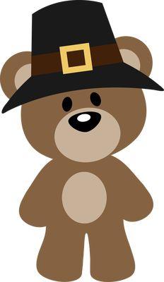 AUTUMN, FALL OR THANKSGIVING PILGRIM TEDDY BEAR CLIP ART