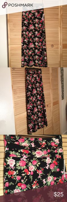 Floral print side split maxi Never worn 41 inches in length 18 inches in width slit is 21 inches in length size m fabric is 96% polyester 4% spandex fabric is very light and soft Isbel Skirts Maxi
