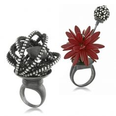 VALERIE HECTOR - European glass and sterling silver bead, often integrating with hand-fabricated armatures and clasps.