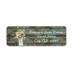 vintage barnwood floral spring country wedding custom return address labels