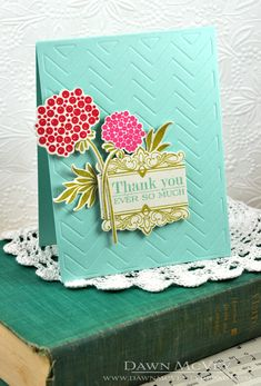 Floral Thank You Card by Dawn McVey for Papertrey Ink (June 2013)