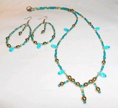 HANDMADE TEAL AND GOLD ARTISAN Czech and Swarovski Crystal NECKLACE & Earring