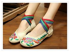 ed1f9c1bb18 Chinese Embroidered ShoesWomen Ballerina Flat Ballet Cotton  ShoesLoaferRibbon White 85    Details can be found by clicking on the image.