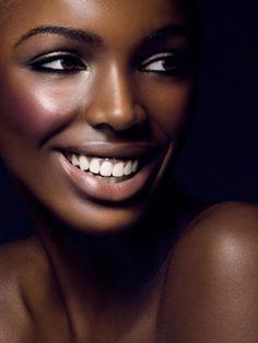 Dark skin make-up.
