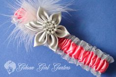 Wedding Garter Coral Silver and Marabou Feather by GibsonGirlGarters, $24.50 @cheryl ng Dumlao @Matty Chuah Knot @Michele Aschenbrenner IT For Weddings @Michele Aschenbrenner IT For Weddings