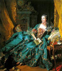 Jeanne-Antoinette Poisson, Marquise de Pompadour, ca. 1756 ~ by François Boucher. This famous portrait of the influential mistress of Louis XV (Alte Pinakothek, Munich, Germany) of twp pins] Madame Pompadour, Men's Pompadour, Jean Antoine Watteau, Art Magique, Rococo Fashion, Royal Fashion, Paris Fashion, Women's Fashion, Art Ancien