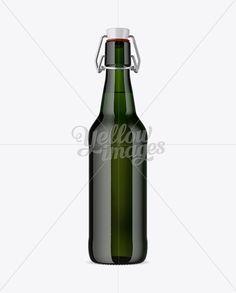 Green Glass Beugel Bottle Mockup