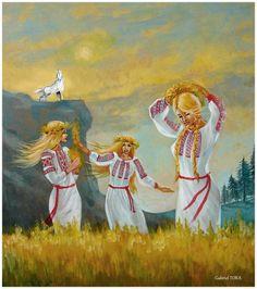 Sanzienele- mituri credinte traditii dacice pictura arta de G. Tora Costume, Painting, Painting Art, Costumes, Paintings, Painted Canvas, Fancy Dress, Drawings, Costume Dress