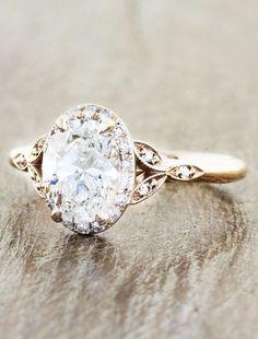 love the elegant vintage design of this gold engagement ring. via Ken and Dana Design