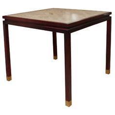 Wood Game Table with Travertine Top
