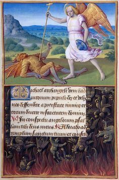 Saint Michael the Archangel: Michael Battling a Devil / Border: Fall of the Rebel Angels // Tours, ca. 1500 // Hours of Henry VIII,Fol. 172,in Latin // Illuminated by Jean Poyer // The Morgan Library & Museum