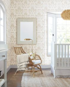 Chic and modern, our bronze floor lamp is the perfect finishing touch to this whimsical neutral nursery with patterned wallpaper and a rattan chair. Chic Nursery, Nursery Neutral, Nursery Decor, Nursery Ideas, Nursery Art, Room Ideas, Girl Nursery, Neutral Nurseries, Safari Nursery
