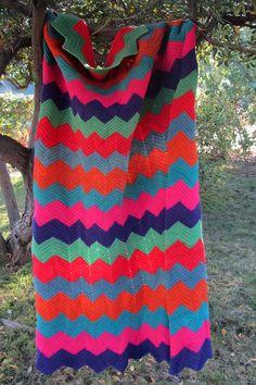 love this bright vintage chevron blanket