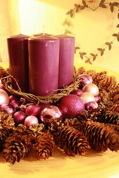 Christmas, candles and pine cones